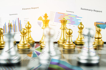 Double exposure chess board versus Finance graph, financial strategy concept, Business concept