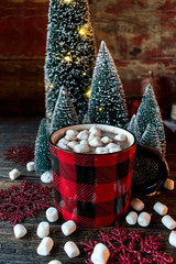 hot cocoa with marshmallows in festive setting