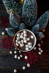 hot cocoa with marshmallows in festive setting top view