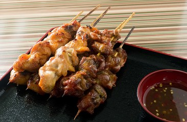 Barbecue Chicken Grilled Food on Bamboo Skewer