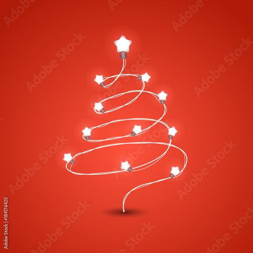 christmas tree with lighting garland vector illustration christmas color garland christmas greeting card vector
