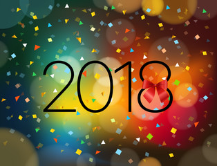 Happy New 2018 year. Greeting card design template with confetti and bokeh effect. Vector