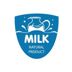 vector logo fresh milk, shield