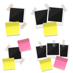 Four groups of retro photo with note stickers on white background. Place for text.