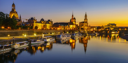 night panorama of the old city of Dresden