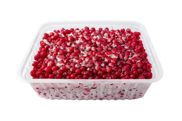 Container of frozen berries, red currants. Isolated