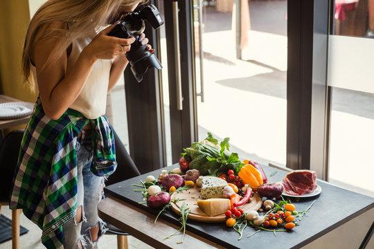 Food photographer at work. Creativity art hobby leisure concept