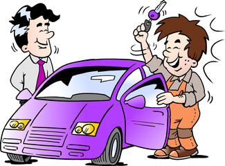 Cartoon Vector illustration of a young man who receives the key to his new car