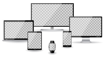 Set four devices - vector illustration for stock