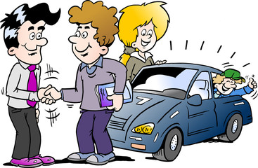 Cartoon Vector illustration of a family there has agreed a deal to buy a new auto car