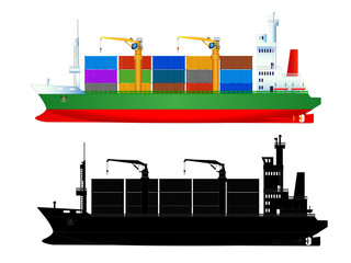 Container ship side view, with silhouette, vector isolated
