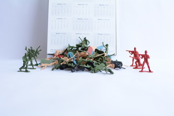 Miniature military models With a white background and lost