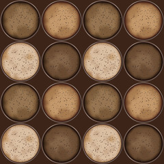 Seamless pattern with cups of different gourmet frothy coffee sorts with bubbles, coffee to go cups