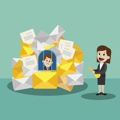 Businessman or manager finding himself going to be busy and colleague helps him. Email and documents preason. Manager has a lot of work. Team work. Partnership