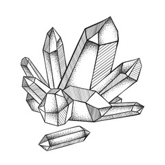 Crystals druse isolated on white background hand drawn line art and dot work vector illustration. Black work, flash tattoo or print design