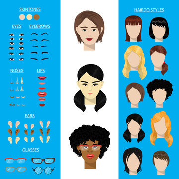 Woman face constructor vector set female character avatar creation head ears lips nose eyes eyebrows hairdo Asian African American facial elements construction illustration isolated.