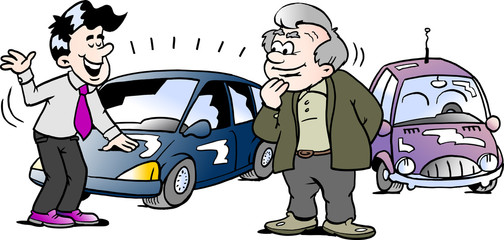 Cartoon Vector illustration of a old man who is interested in a brand new auto car