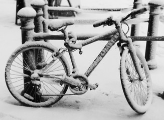 bicycle in snow in UK