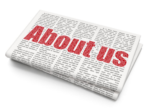 Business concept: Pixelated red text About us on Newspaper background, 3D rendering