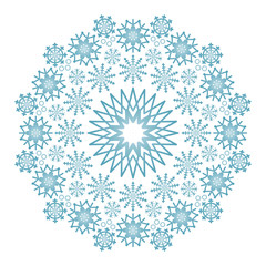 vector winter colored circular mandala with blue snowflakes - adult coloring book page