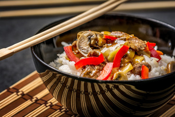 Asian rice with beef