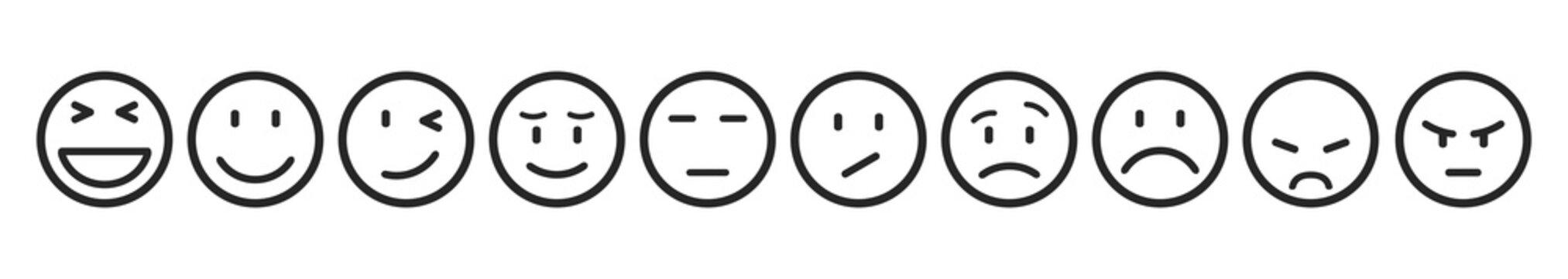 Ten smilies, set smiley emotion, by smilies, cartoon emoticons - stock vector