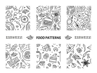 Seamless patterns set with healthy food.