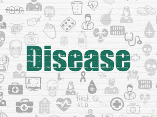 Healthcare concept: Painted green text Disease on White Brick wall background with  Hand Drawn Medicine Icons