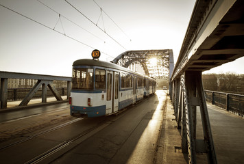 Old Tram on the bridge in Krakow city, Poland