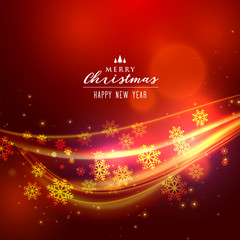 beautoful red christmas background with shiny wave and snowflakes