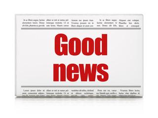 News concept: newspaper headline Good News on White background, 3D rendering