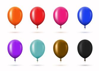 Vector modern glossy helium balloons set for birthday design