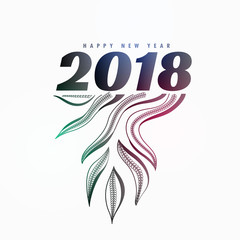 2018 new year poster design with organic style design element