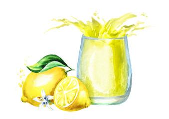 Glass of lemon juice with splash. Watercolor hand drawn illustration