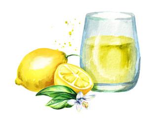 Glass of lemon juice. Watercolor hand drawn illustration