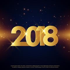 premium happy new year 2018 greeting card golden design