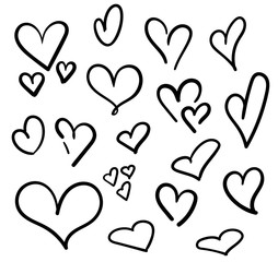 Hand drawn hearts set isolated. Design elements for Valentine's day. Collection of doodle sketch hearts hand drawn with ink. Vector illustration 10 EPS