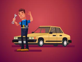 Car repair man character. Vector cartoon illustration