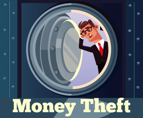 Scared businessman character look in empty safe. Money theft. Vector cartoon illustration