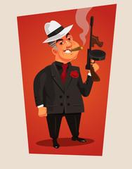 Armed mafia boss character. Vector cartoon illustration