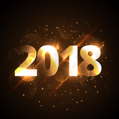 creative shiny happy new year 2018 golden background with sparkles