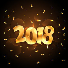 golden shiny 2018 new year party celebration with falling confetti