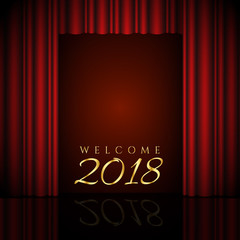 welcome 2018 design with red curtains
