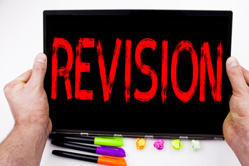Revision text written on tablet, computer in the office with marker, pen, stationery. Business concept for Repeat Repetition Education Material for Exam white background with copy space