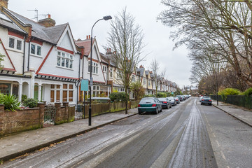London suburb in snowy winter day