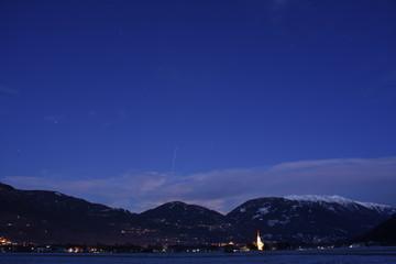 Nacht, ISS, Raumstation, Internationale Raumstation, Überflug, Himmel, Stern, Sterne, Osttirol, Lienz, Lienzer Talboden, Dölsach, Wolken, Berge, Licht, Dorf, Dörfer
