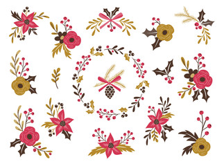 Cute floral bouquets for winter season. Isolated vector illustration. Easily editing for create your own flower arrangements.