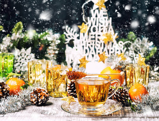 Cup tea decoration Christmas ornaments food drink falling snow