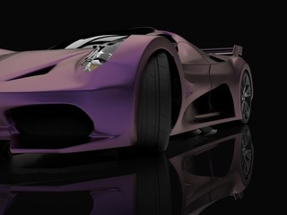 Purple racing concept car. Image of a car on a black glossy background. 3d rendering.