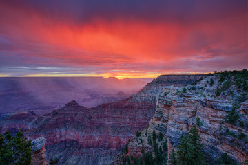 Printed kitchen splashbacks Crimson Grand Canyon Sunrise at Mather Point